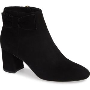 """KATE SPADE Bootie 'Holly"""" Black Suede Velvet Bow"""